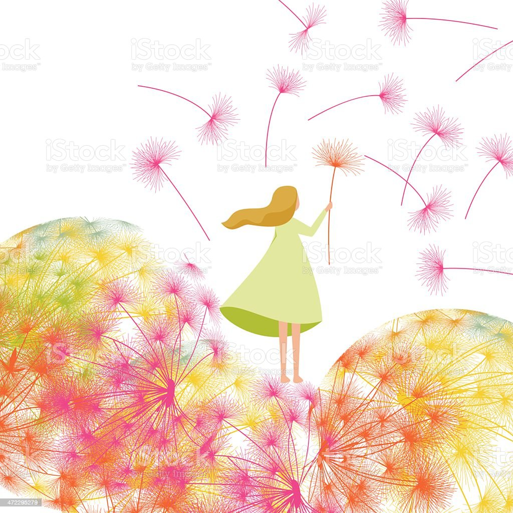 Spring garden background and girl royalty-free stock vector art