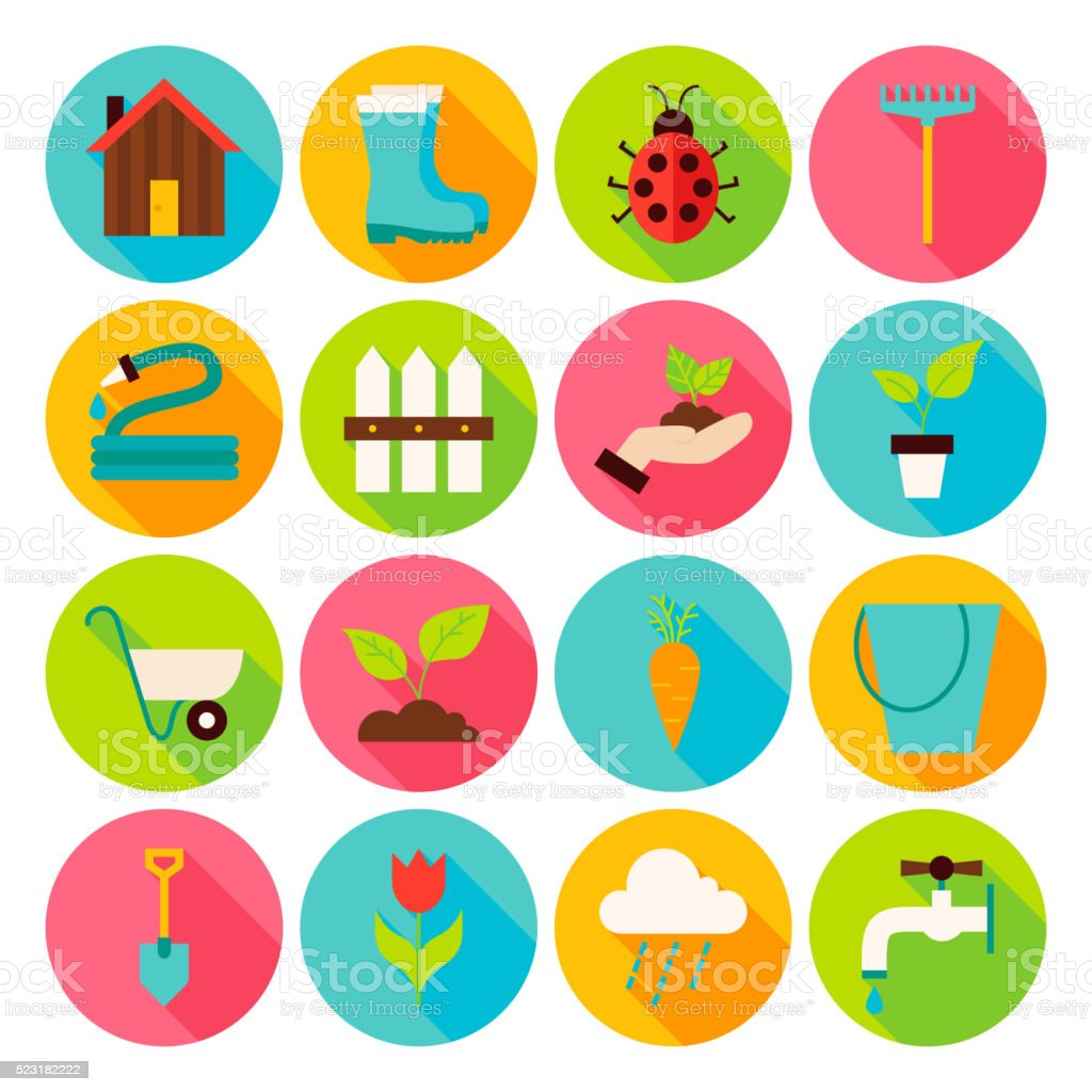 Spring Garden Circle Icons Set with long Shadow vector art illustration