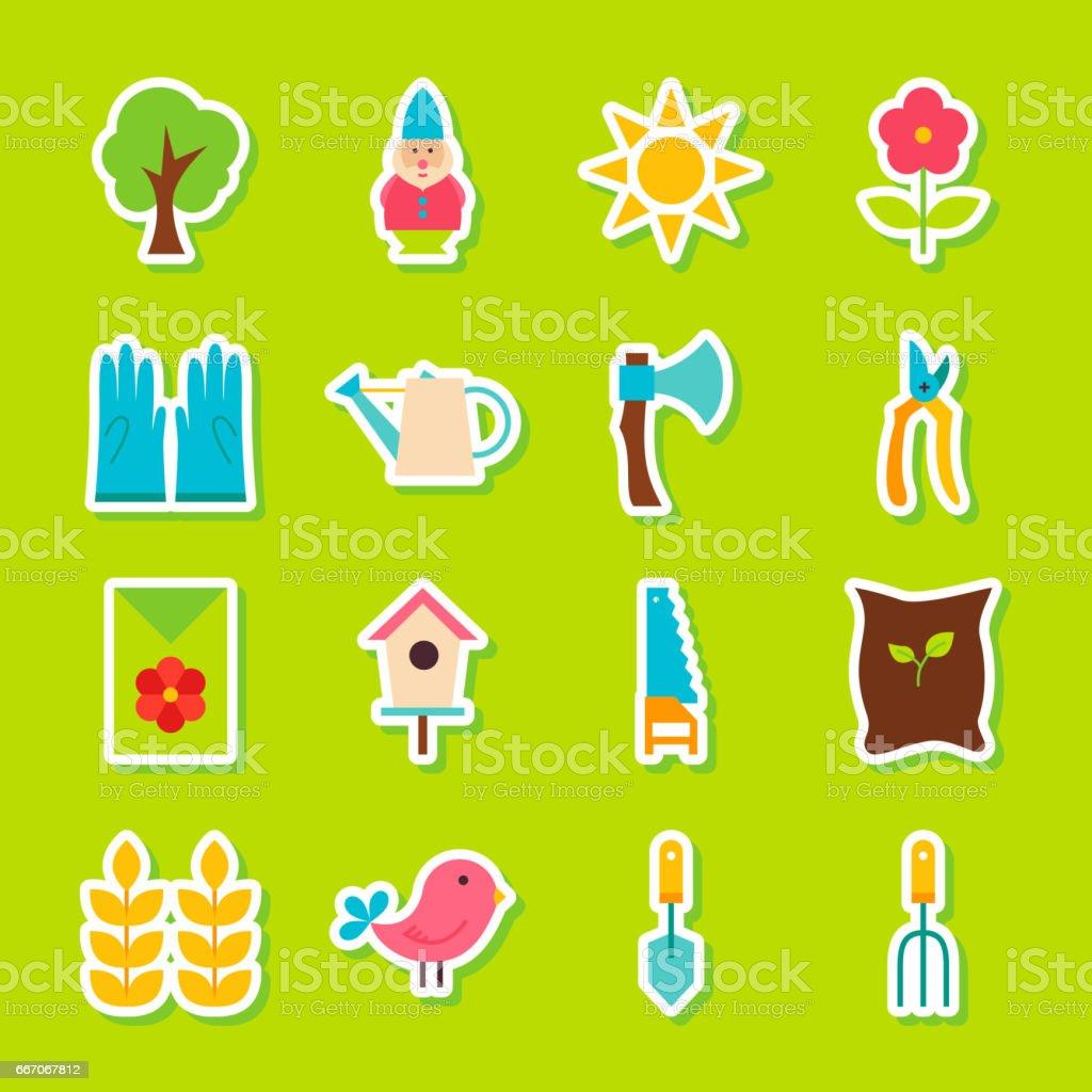 Spring Garden Stickers vector art illustration