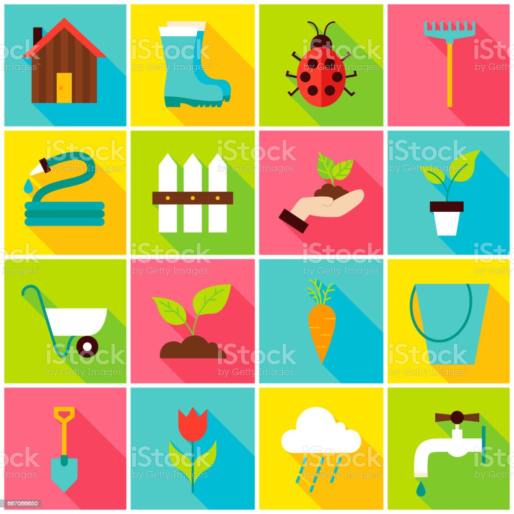 Spring Gardening Colorful Icons vector art illustration