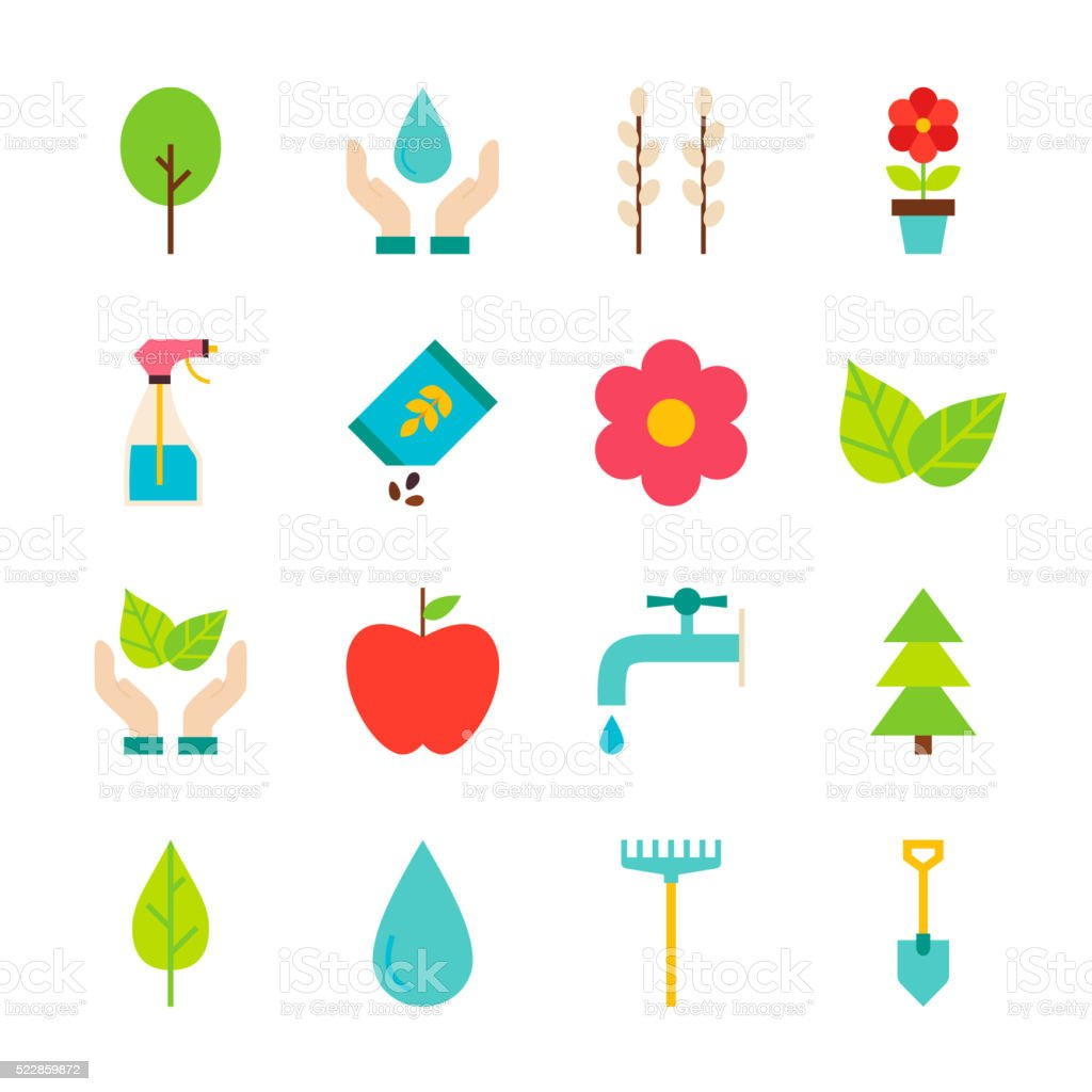 Spring Gardening Flat Objects Set isolated over White vector art illustration