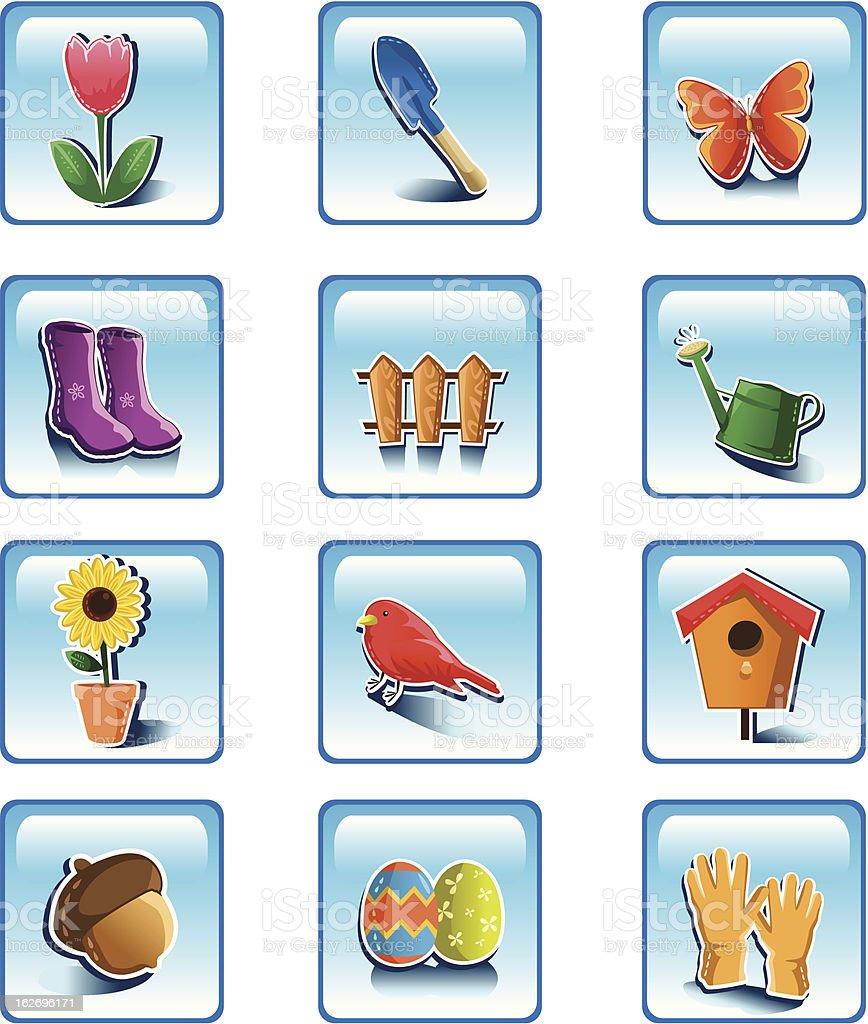 Spring gardening icons vector art illustration