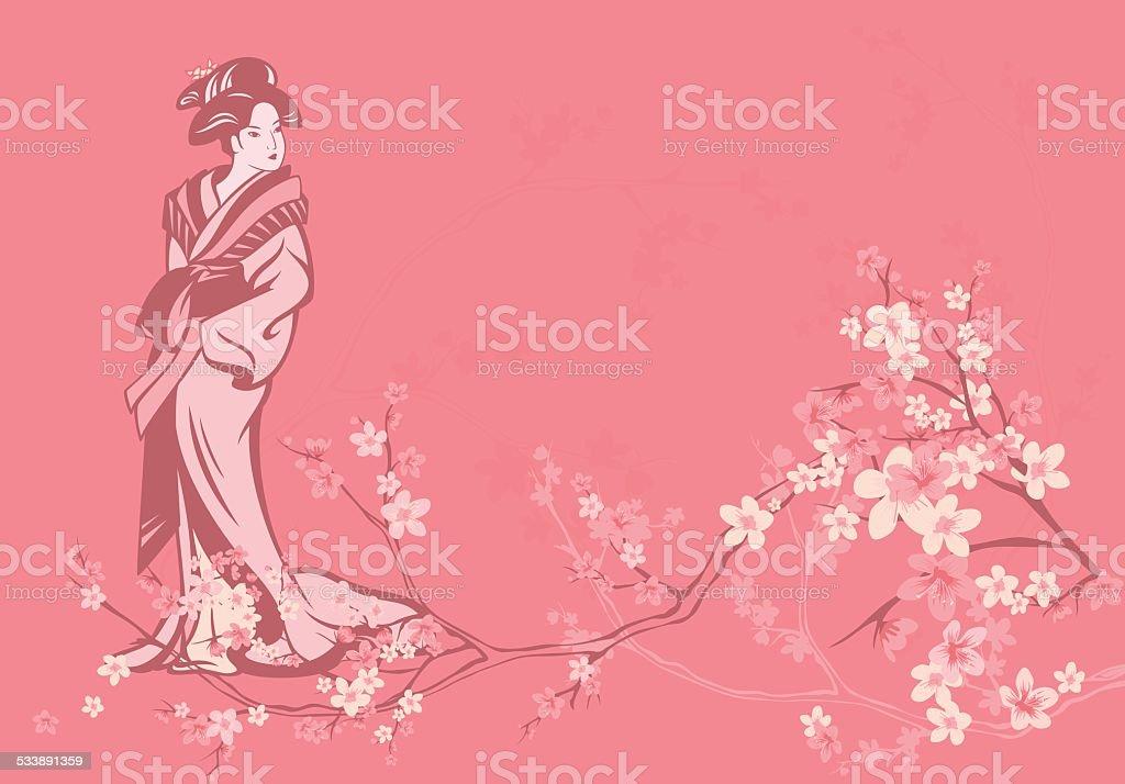 spring geisha vector art illustration