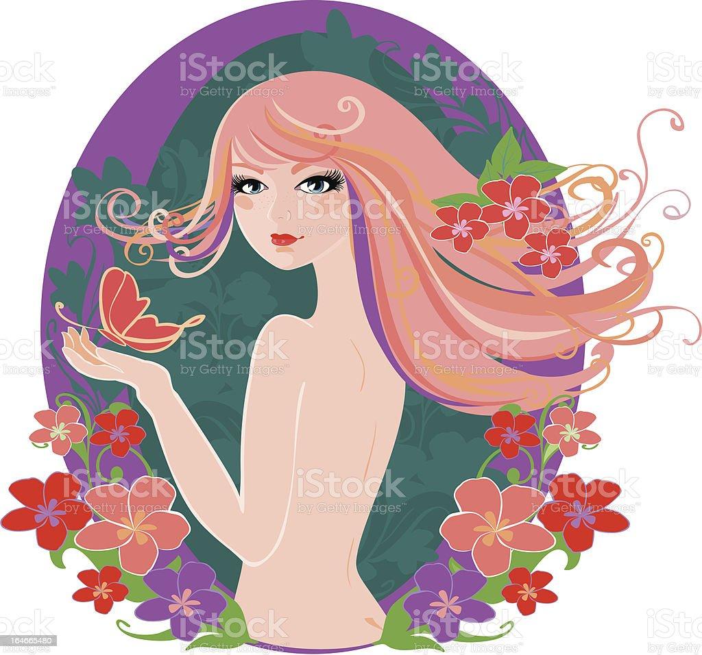 spring girl vector art illustration
