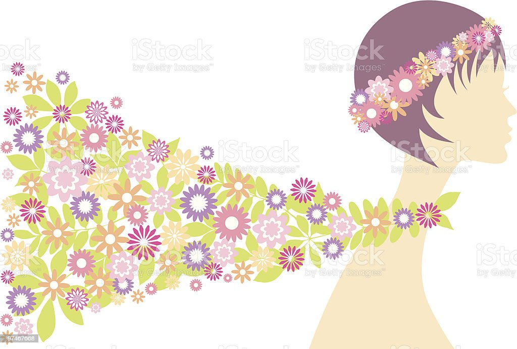 spring girl with flowers royalty-free stock vector art