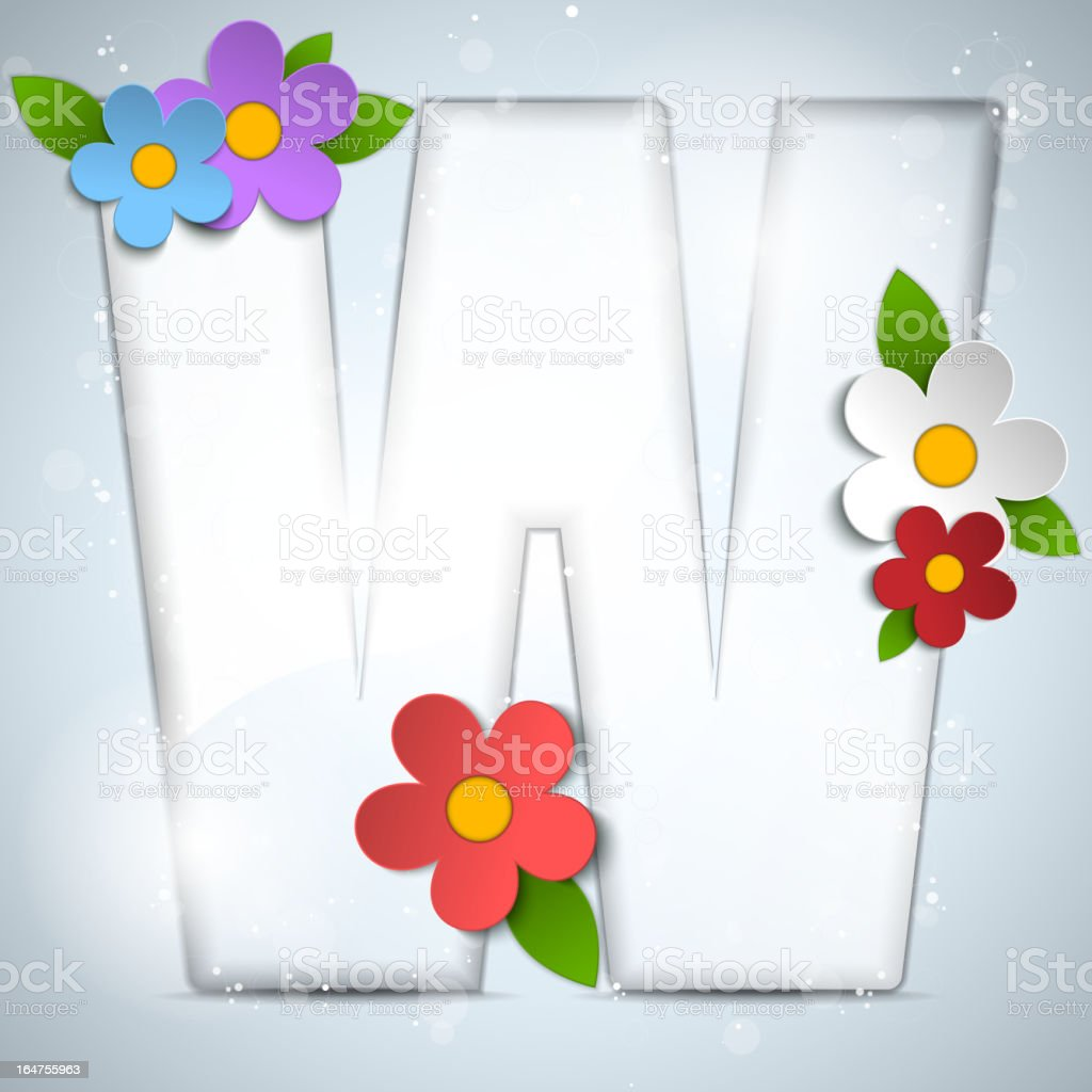 Spring Glass Alphabet with Flowers royalty-free stock vector art