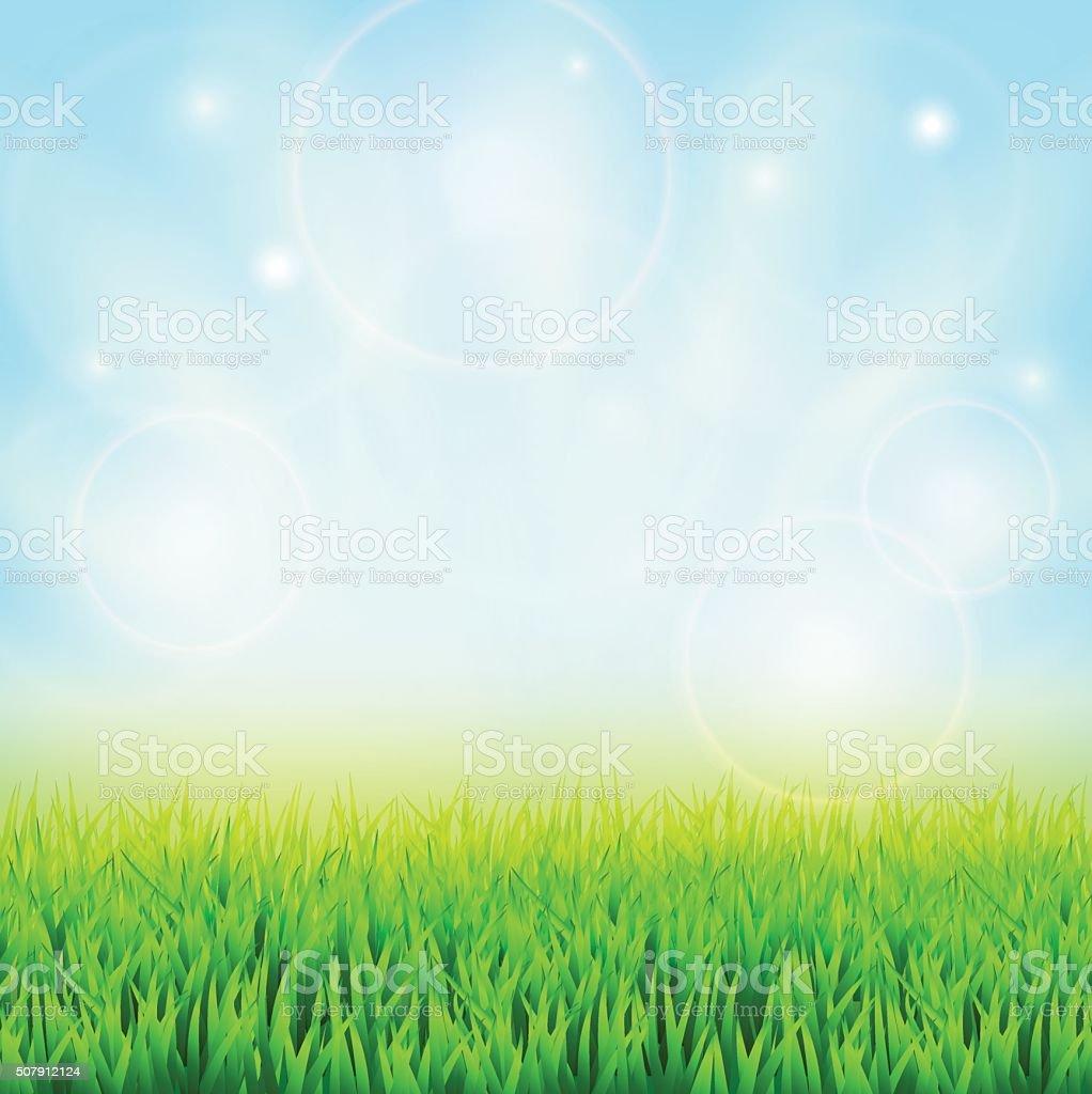 Spring green grass vector art illustration
