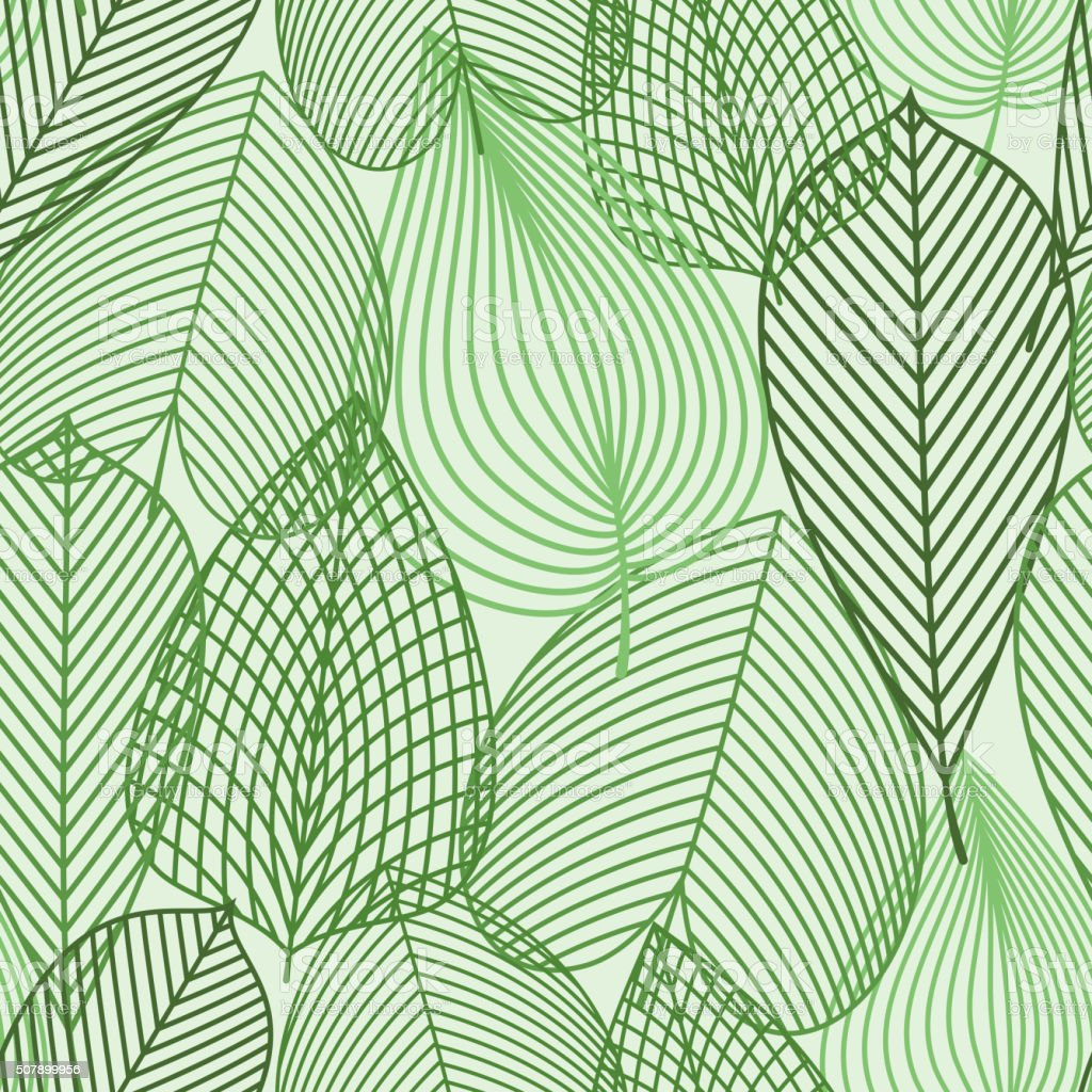 Spring green leaves seamless pattern vector art illustration