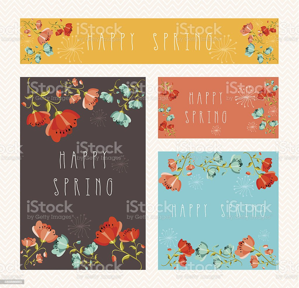 Spring greeting card set vector art illustration