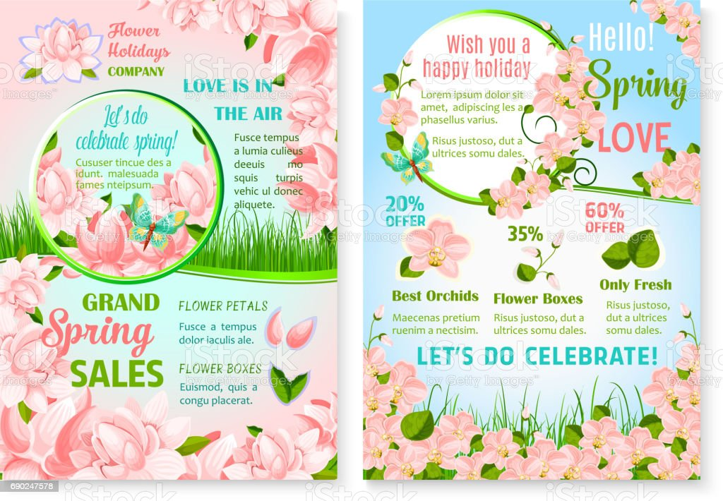 Spring holiday promo sale flowers vector posters vector art illustration
