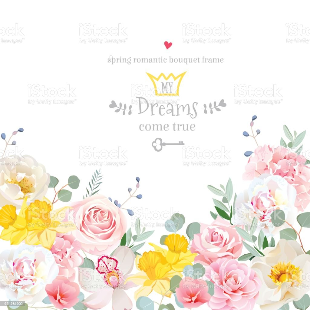Spring hydrangea, rose, peony, orchid, daffodil vector design ca vector art illustration