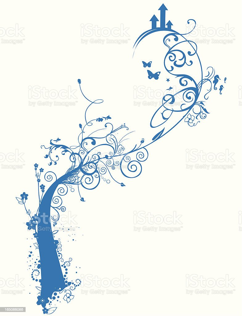 Spring in blue royalty-free stock vector art