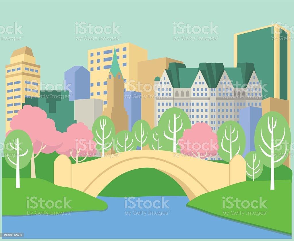 Spring in Central Park vector art illustration