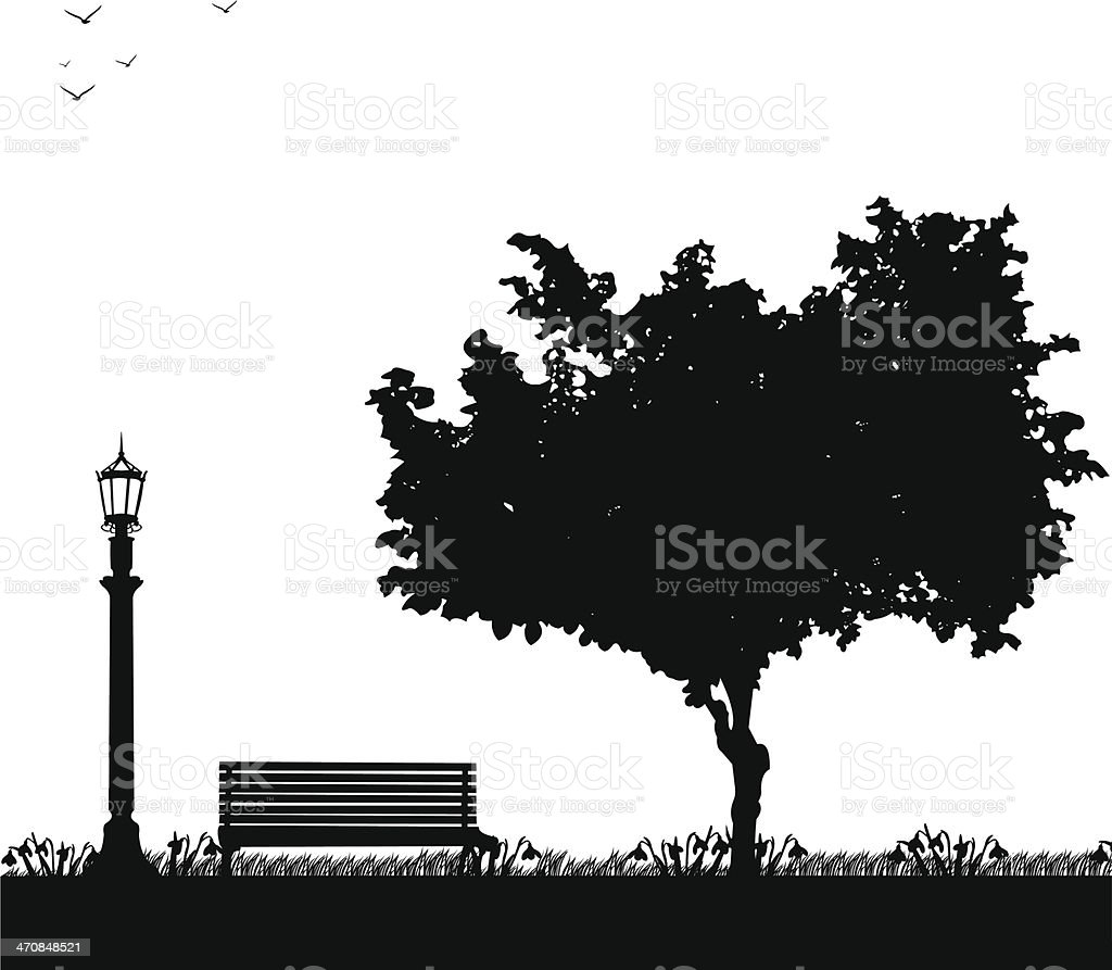 Spring in park, first spring flower -snowdrop silhouette vector art illustration