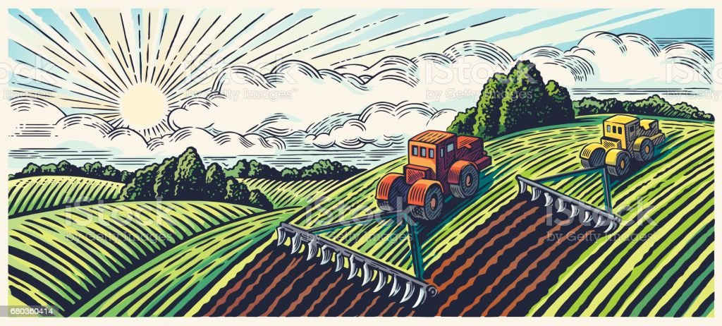 Spring landscape and tractors. vector art illustration