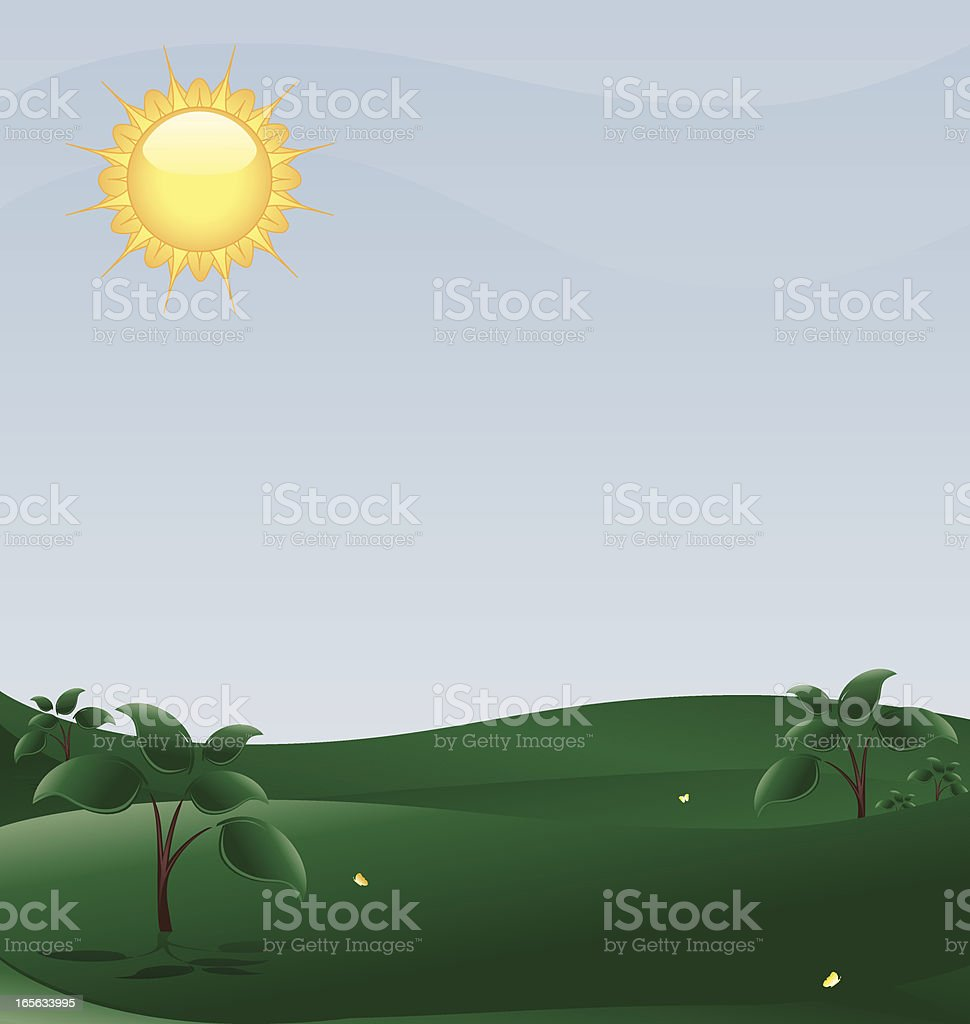 Frühling Landschaft mit Bäumen, Sonne Lizenzfreies vektor illustration