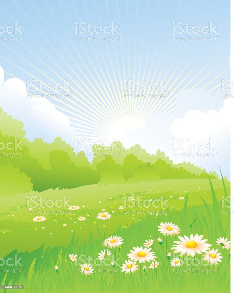 Spring landscape royalty-free stock vector art