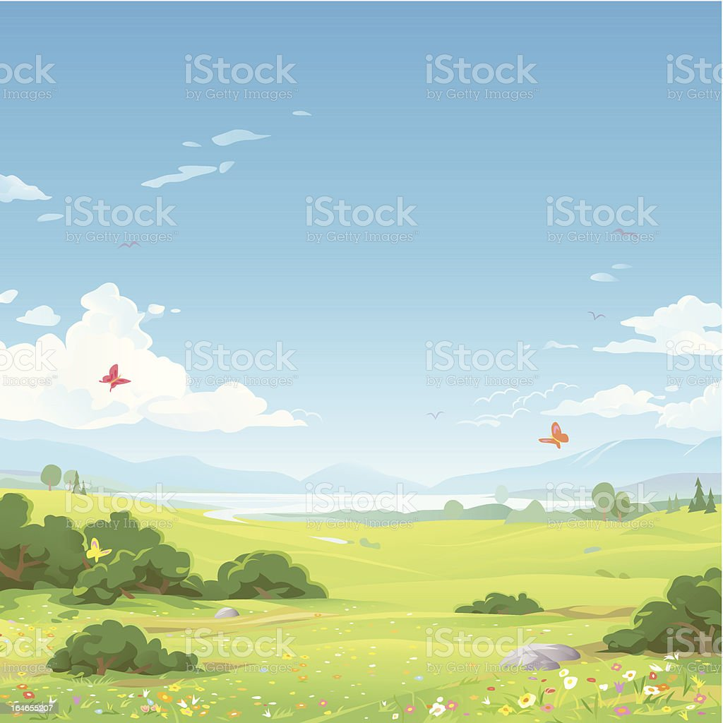 Spring Landscape vector art illustration