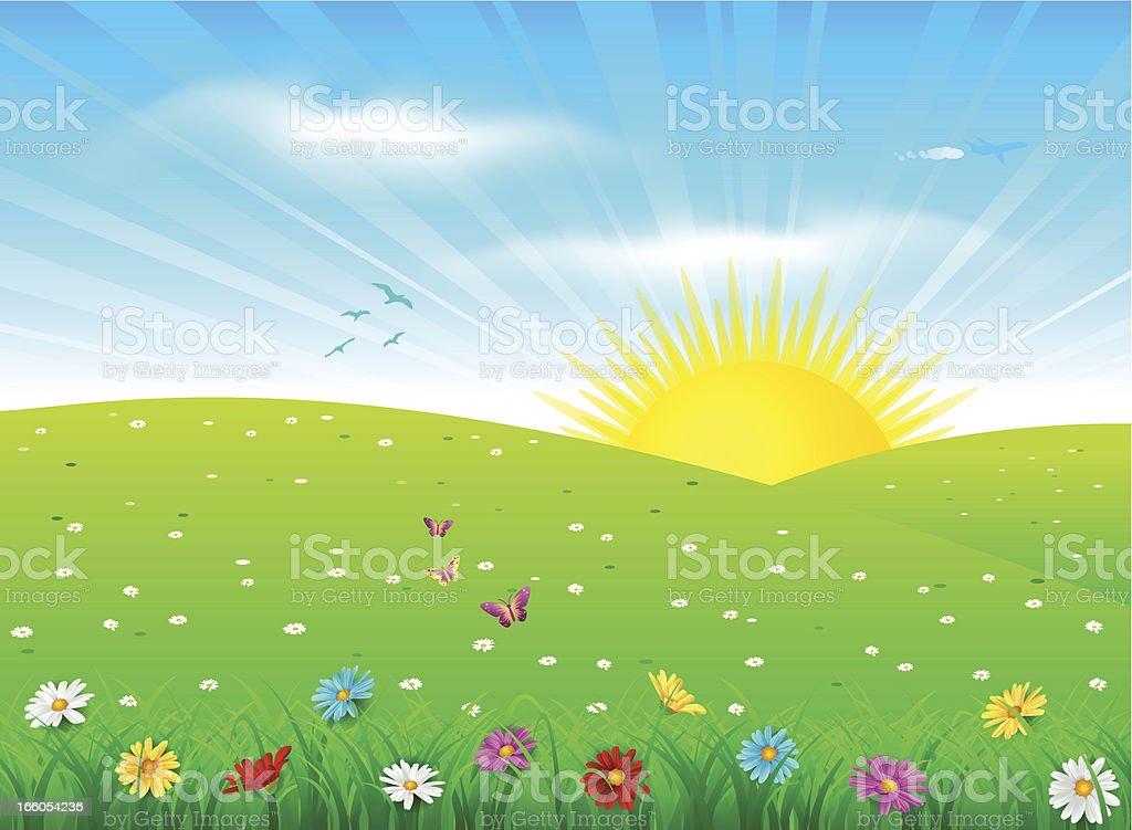 Spring landscape vector art illustration