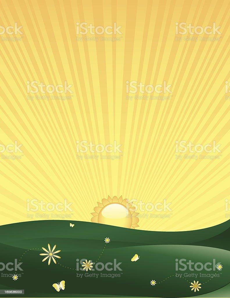 Frühling Landschaft mit Sonne Lizenzfreies vektor illustration