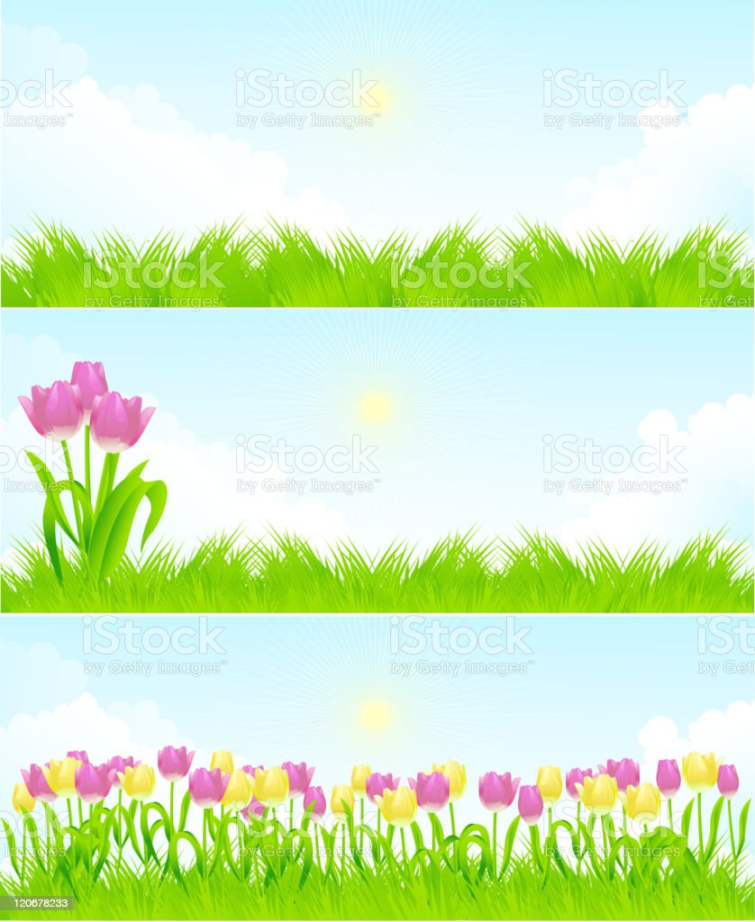 Spring landscapes royalty-free stock vector art