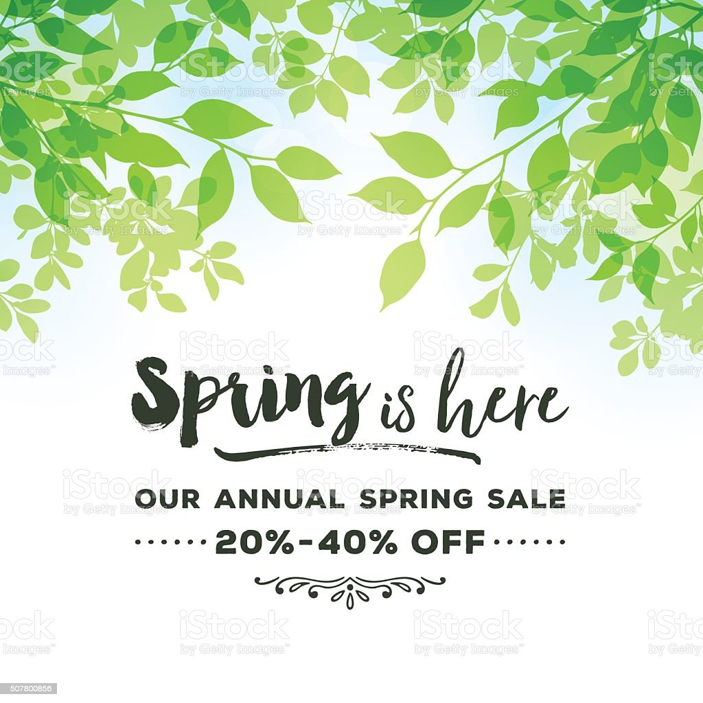 Flower with green leaves spring background vector - Vector ...