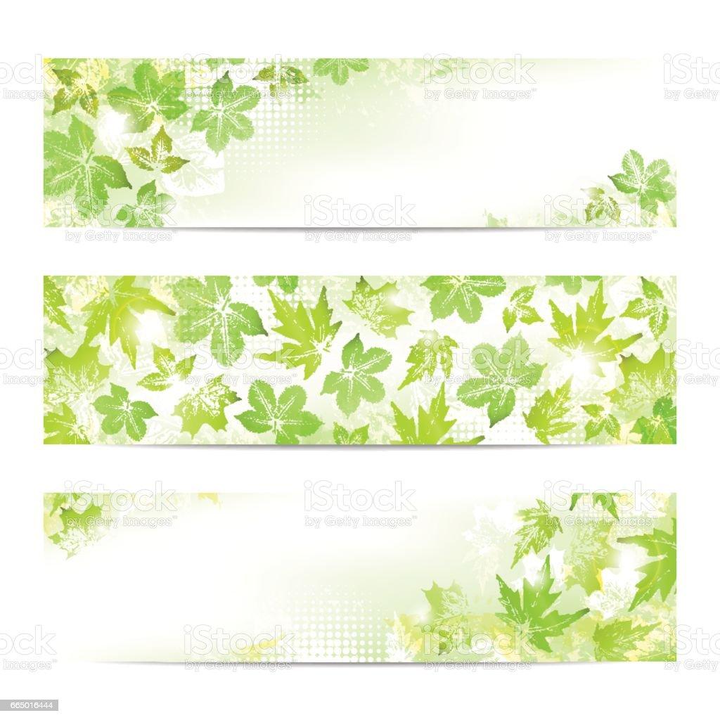 Spring leaves banners vector art illustration