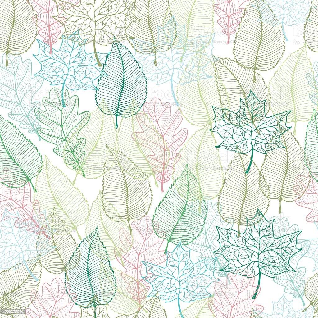 Spring leaves seamless pattern vector art illustration