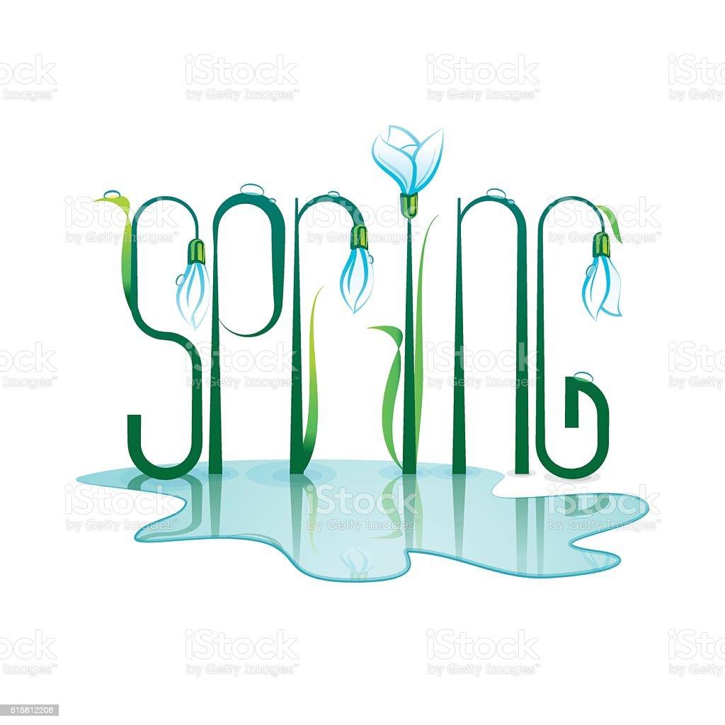 Spring Lettering Design. Color vector illustration. vector art illustration