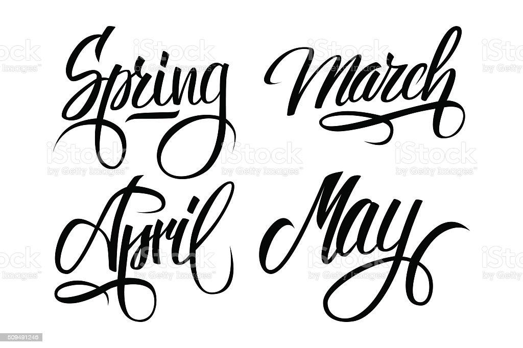 Spring. March, April, May. Spring months. Spring month lettering. vector art illustration