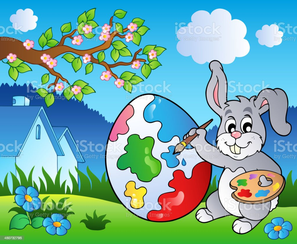 Spring meadow with bunny artist vector art illustration