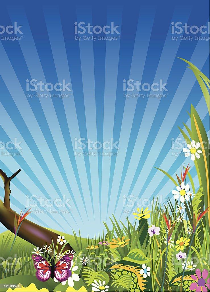 spring meadows background vector art illustration