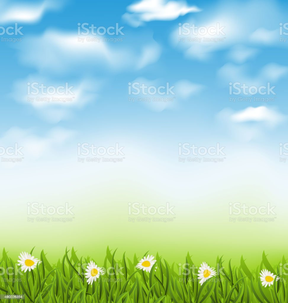 Spring natural background with blue sky, clouds, grass field and vector art illustration