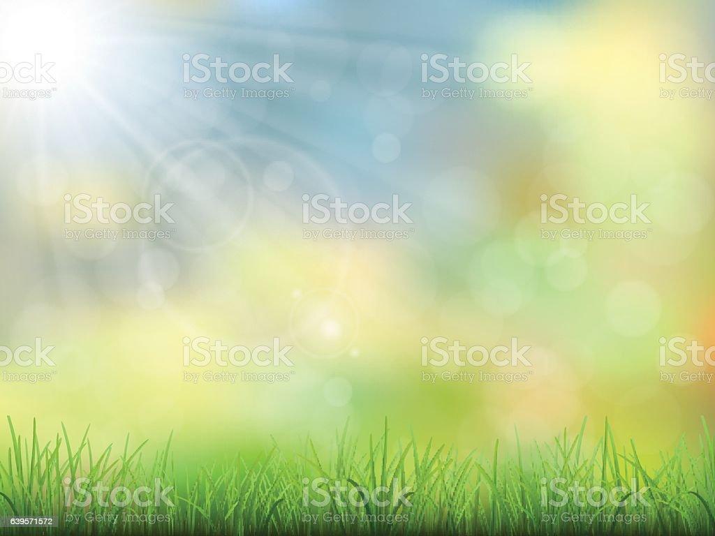 spring nature background grass vector art illustration