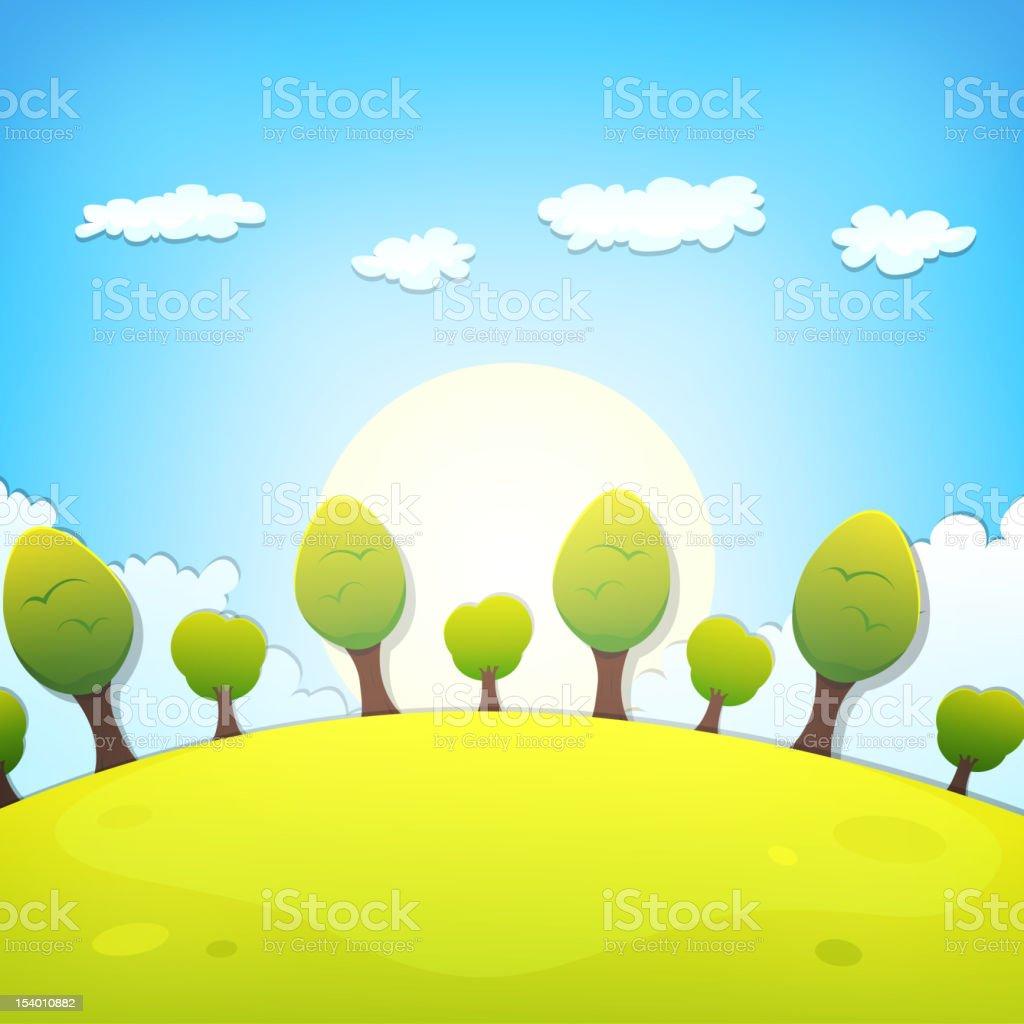 Spring Or Summer Cartoon Landscape royalty-free stock vector art