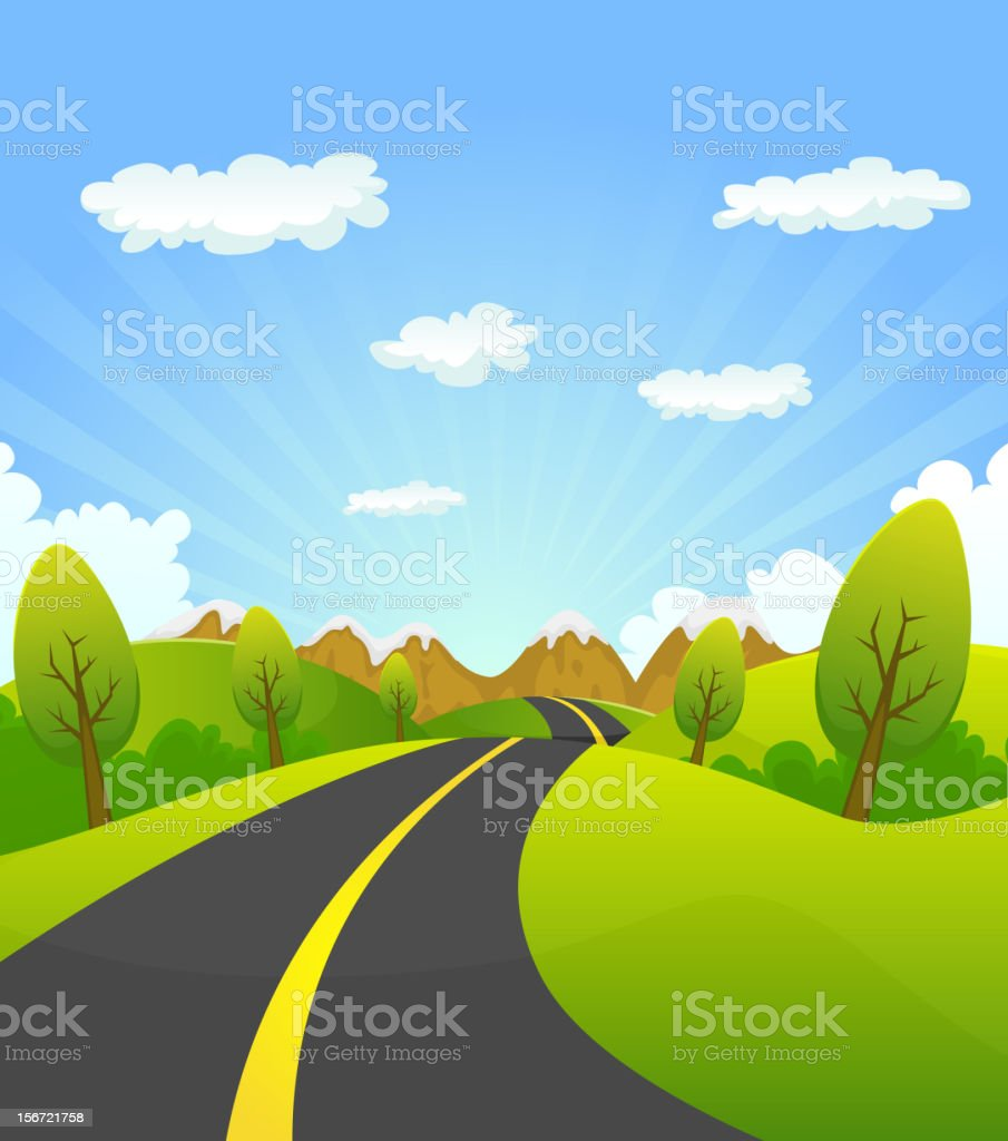 Spring Or Summer Road To The Mountain royalty-free stock vector art