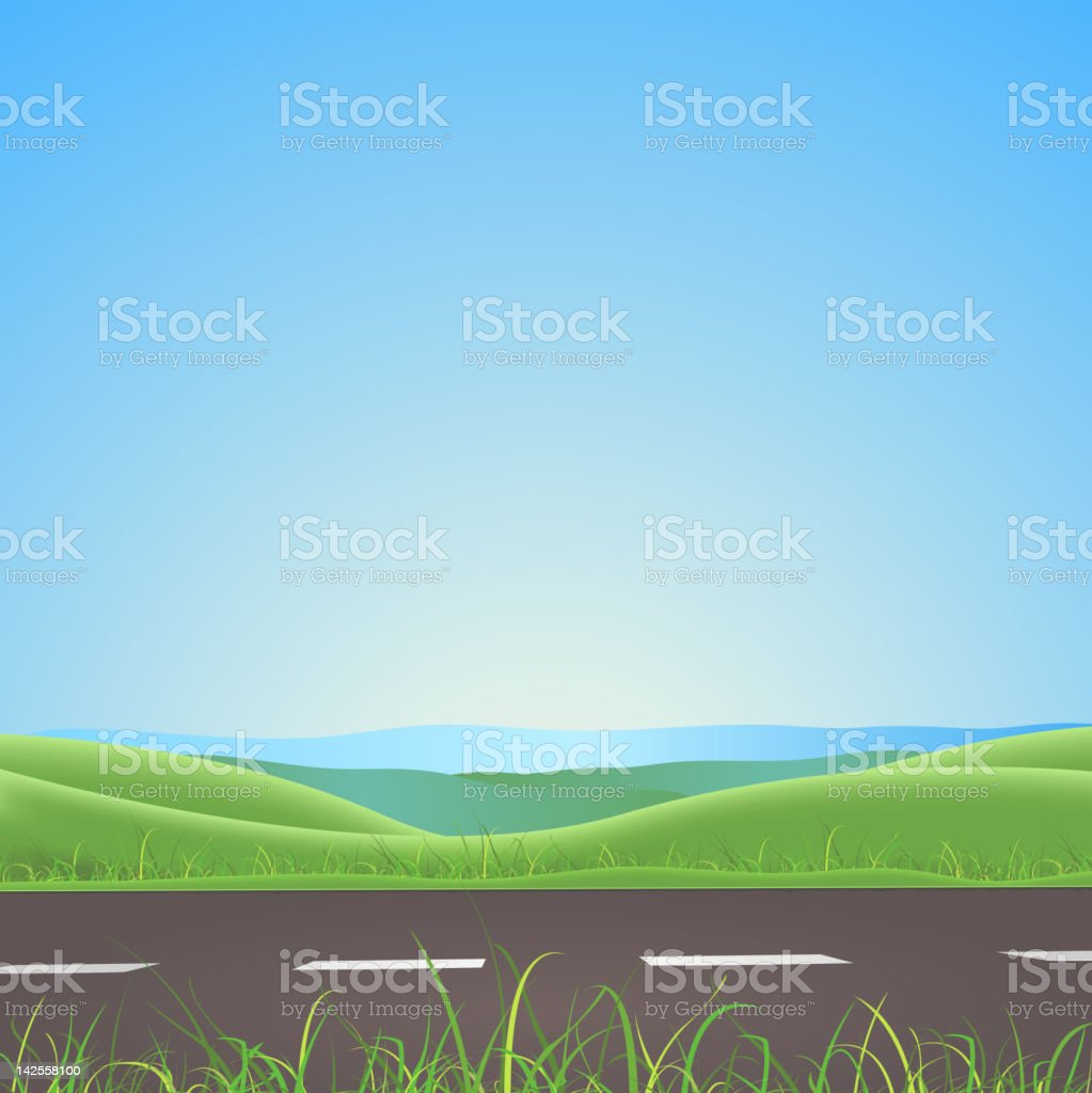 Spring Or Summer Road With Mountains Background vector art illustration