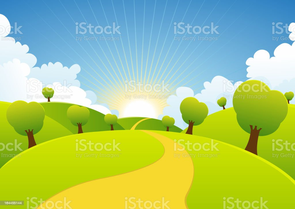 Spring Or Summer Seasons Rural Background royalty-free stock vector art