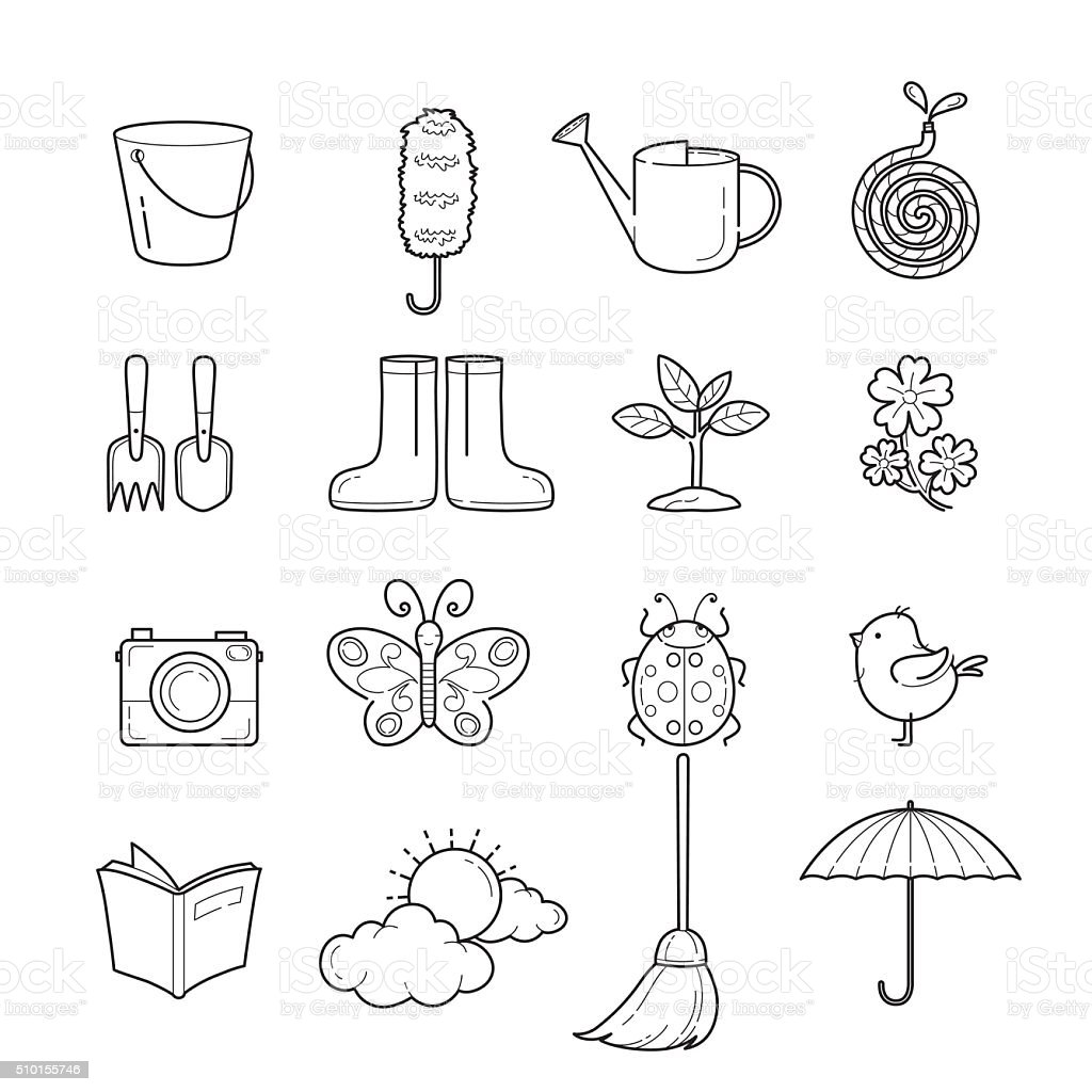 Spring Outline Icons Set vector art illustration