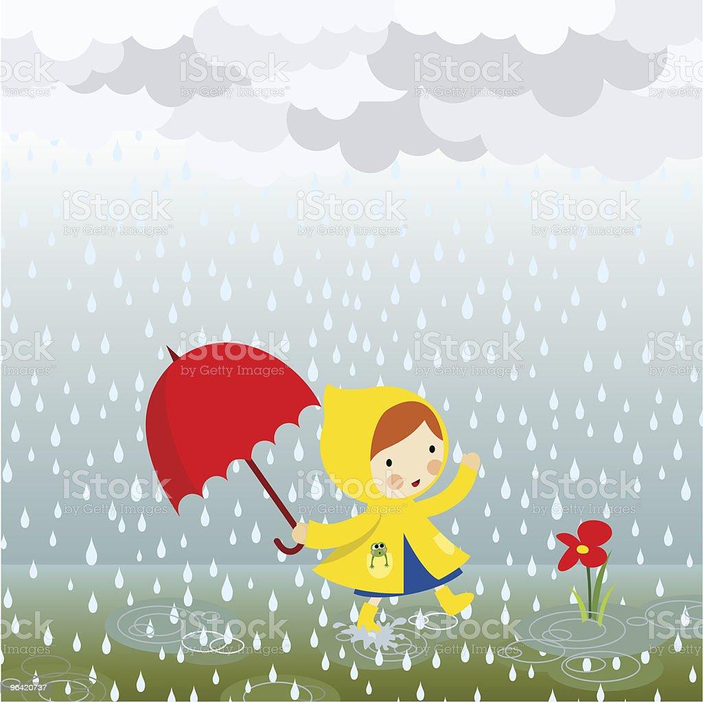 Spring rain vector art illustration
