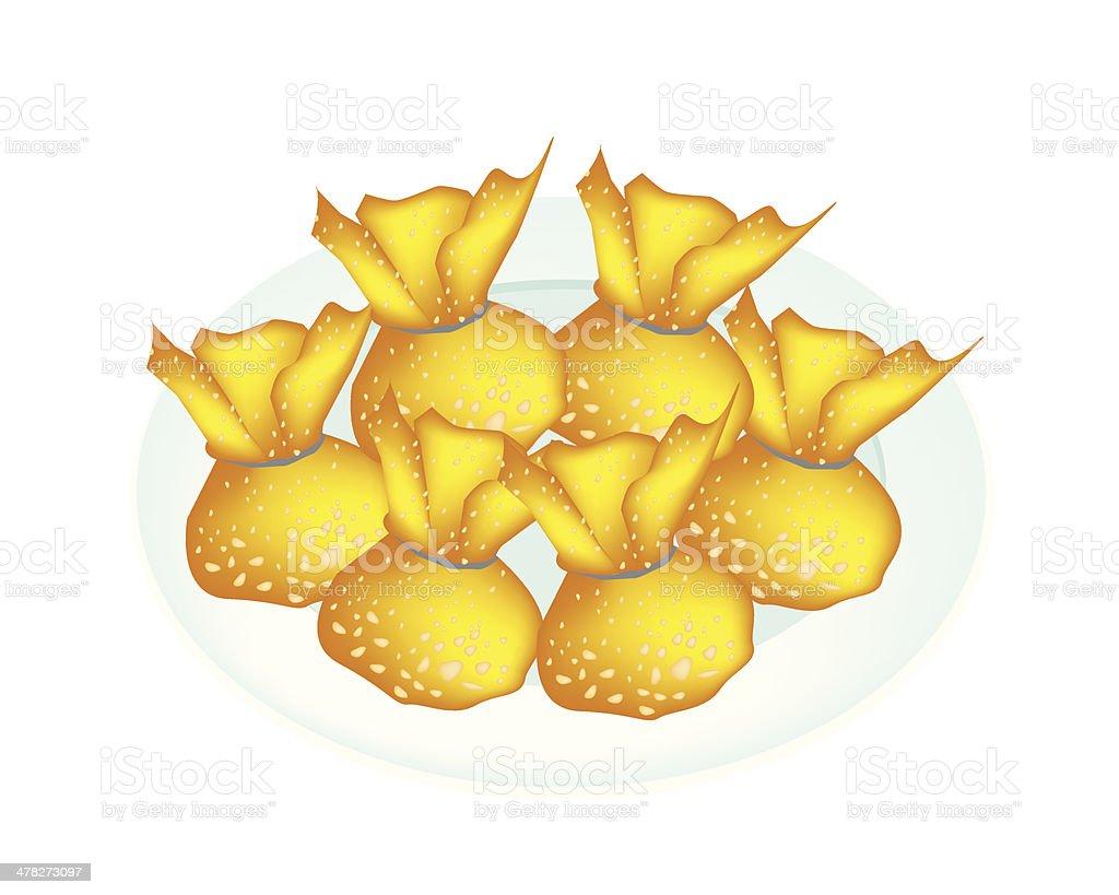 Spring Rolls or Vegetable Bag in White Plate vector art illustration