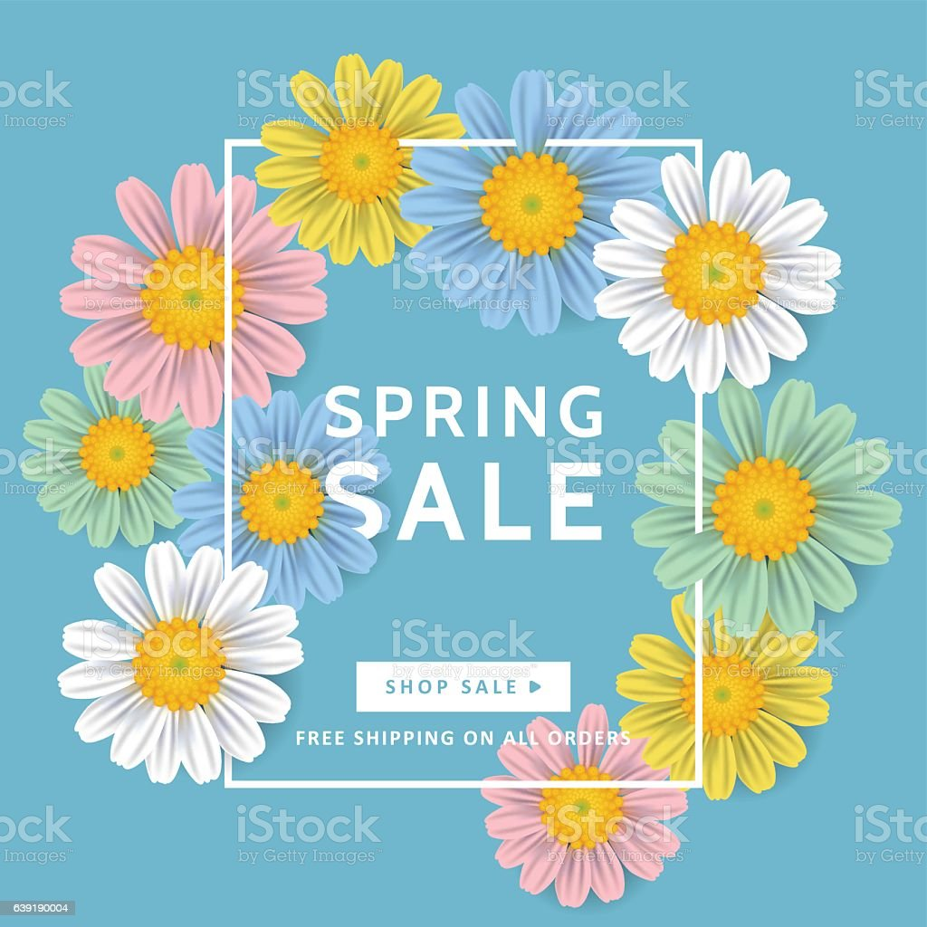 Spring sale banner design with realistic daisy flowers stock spring sale banner design with realistic daisy flowers royalty free stock vector art dhlflorist Choice Image