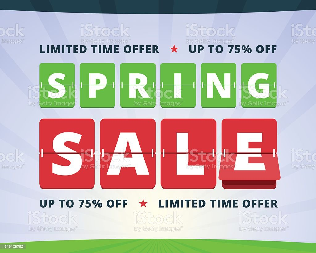 Spring sale banner. vector art illustration