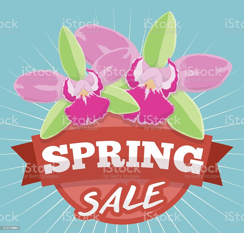 Spring Sale Design with Exotic Orchids for Offers Season vector art illustration