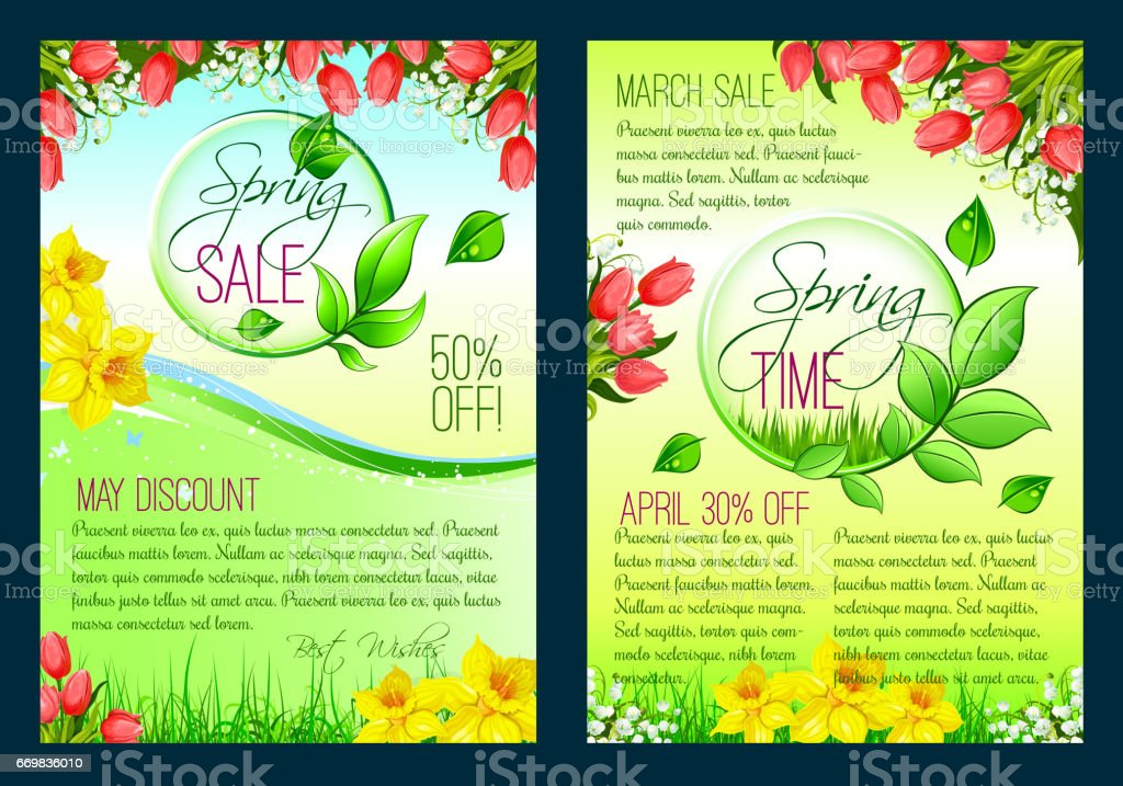 Spring Sale Floral Poster Discount Flyer Template Vetor e – Discount Flyer Template