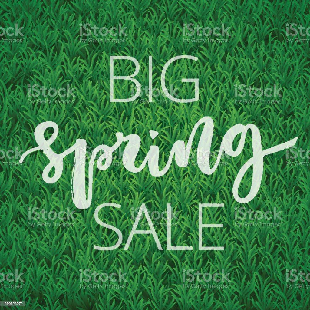 Spring sale hand written inscription vector art illustration