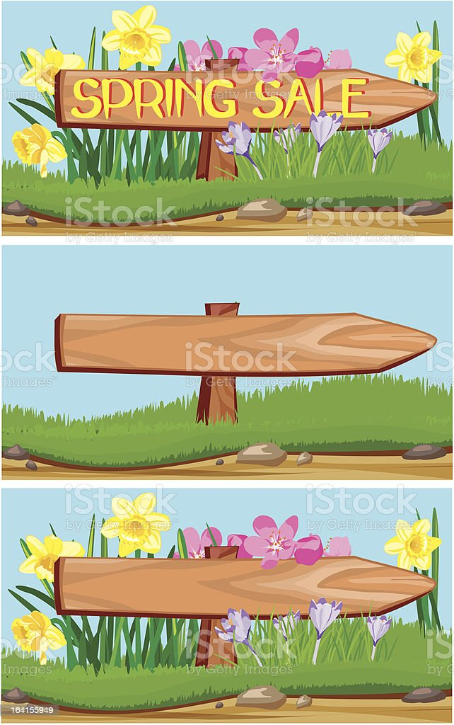 spring sale - signpost royalty-free stock vector art