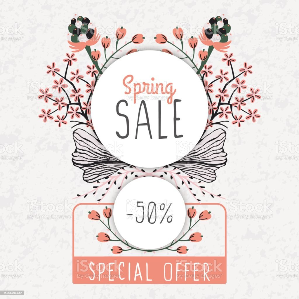 Spring Sale Special Offer Floral Decoration Flowers Around Round Frame Discount Royalty
