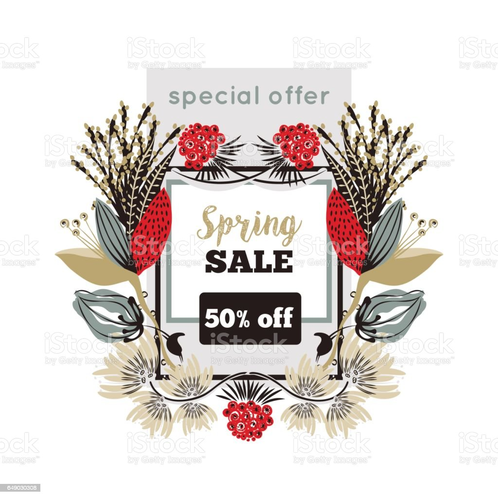 Spring Sale Special Offer Floral Decoration Flowers Around Square Frame Discount Royalty