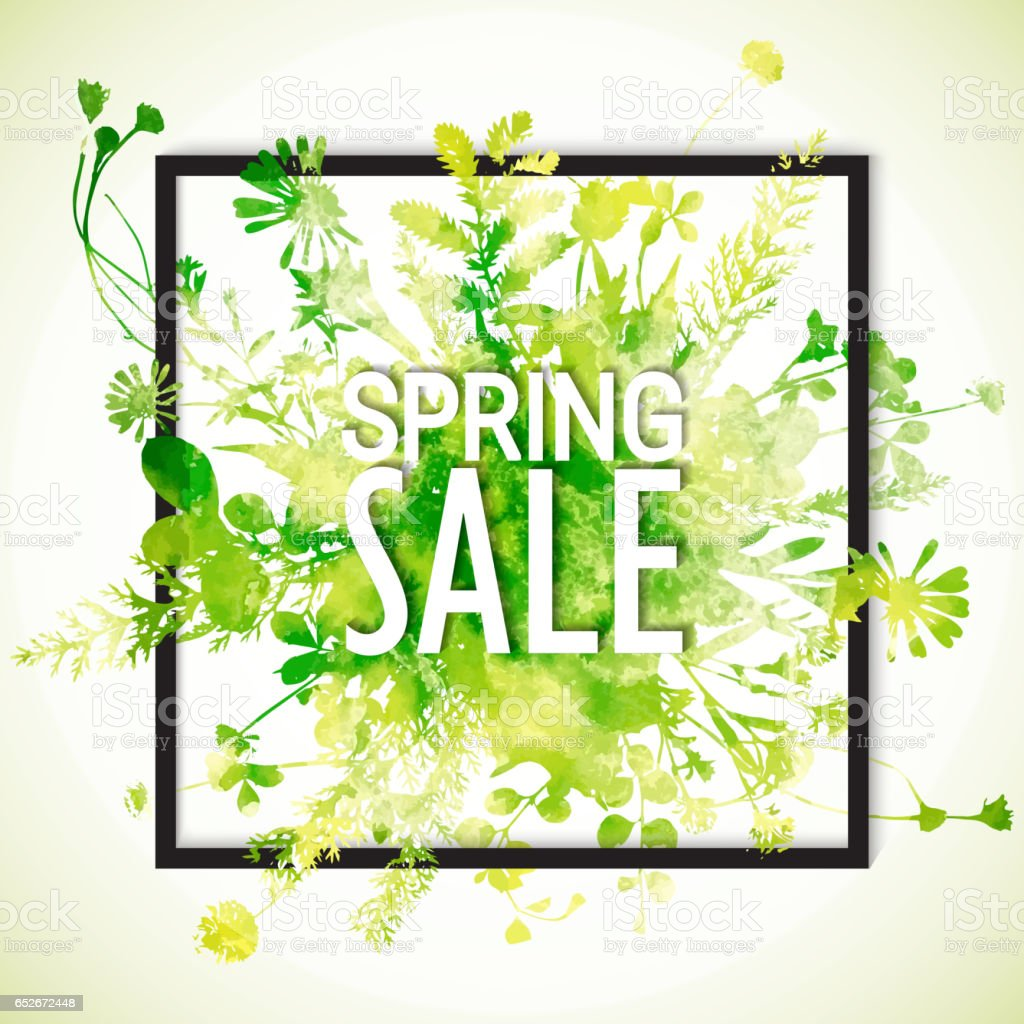 Spring Sale: Spring Sale Watercolor Banner Stock Vector Art 652672448